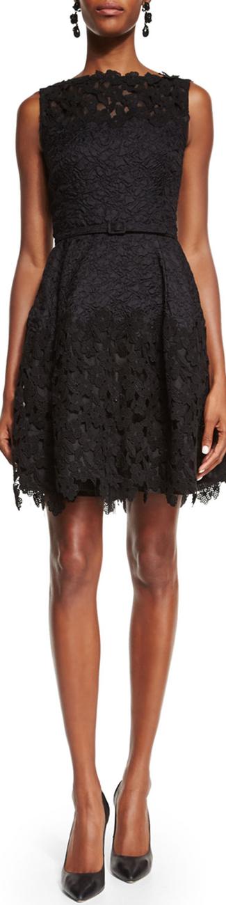 Oscar de la Renta Lace Fit-&-Flare Cocktail Dress, Black