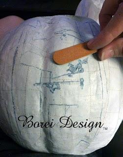 sanding smoothing nail file how to make paper mache pumpkin tutorial diy fall halloween thanksgiving crafts