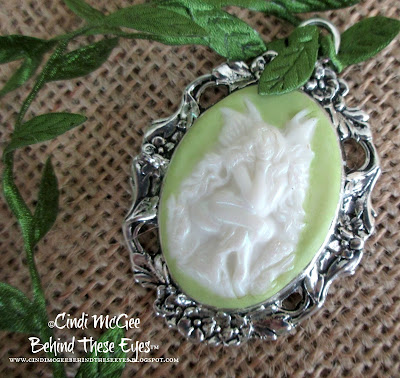 Garden Fairy Cameo Pendant made with Makin's Clay by Cindi McGee