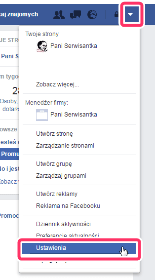 Facebook - ustawienia konta