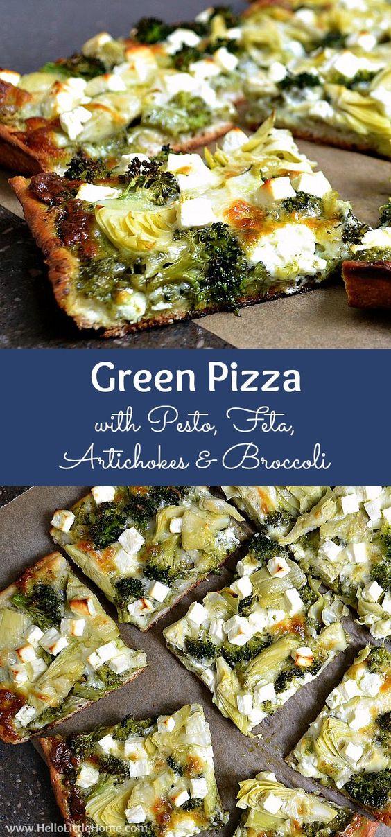 GREEN PIZZA WITH PESTO, FETA, ARTICHOKES, AND BROCCOLI #greenpizza #pesto #feta #artichoke #broccoli #dinner #dinnerideas #dinnerrecipes #easydinnerrecipes