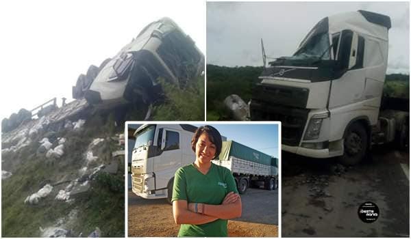 Caminhoneira catarinense morre em grave acidente na Bahia