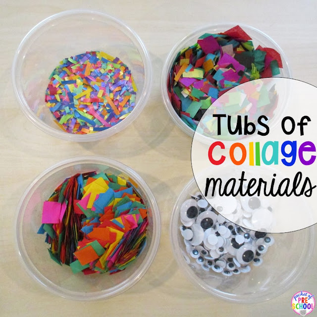 Keep clear tubs of collage materials, like googly eyes and confetti, so that they're organized and ready to be used for your next craft project.