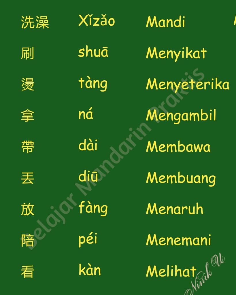 Kata Kerja Dalam Bahasa Mandarin Belajar Mandarin