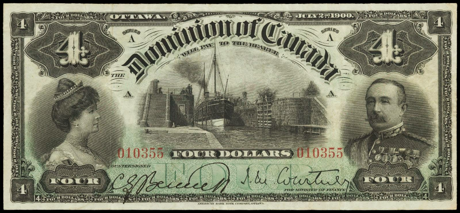 Dominion of Canada banknotes 4 Dollars 1900