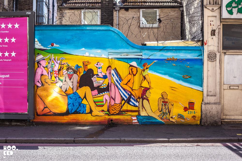 Italian Street Artist RUN's London mural in Clapton