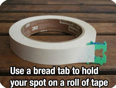 Using bread clip to hold spot on adhesive tapes