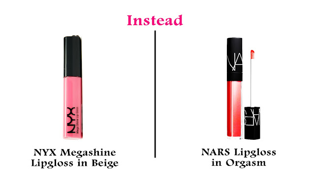 Best Affordable/Cheap/Budget Friendly Drugstore Alternatives to High End Makeup Products NYX Mega Shine Lipgloss in Beige