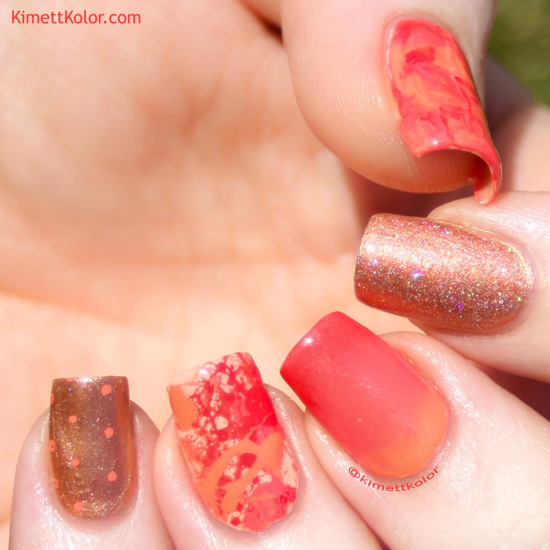 KimettKolor ManiSwapCircle Coral Skittle Nail Art