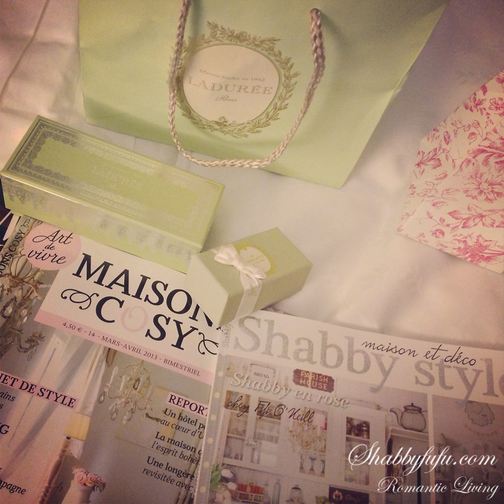 French magazines and Laduree Macarons