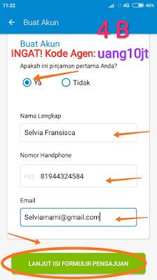 Sambungan Langkah 4 pengisian Aplikasi pinjaman Tunaiku kode agen uang10jt