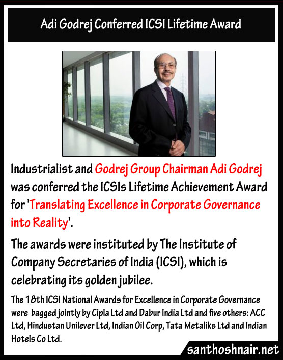 Adi Godrej conferred ICSI Lifetime Award