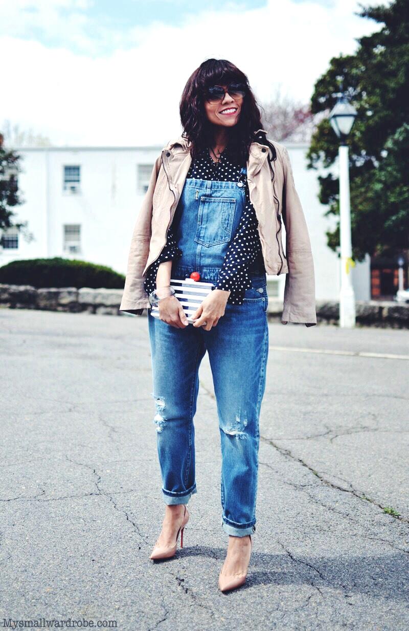 Denim overalls street style look