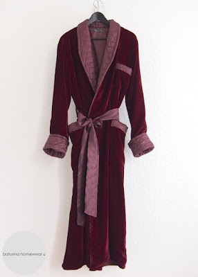 Luxurious Long Red Velvet Smoking Robe for Men, with Classic Quilted Shawl Lapel.