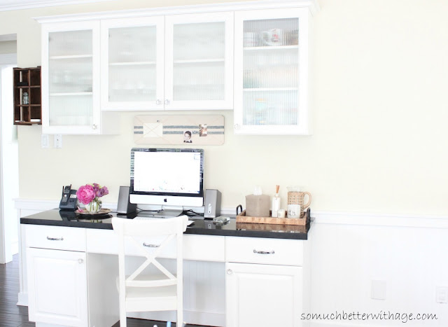 Kitchen Office www.somuchbetterwithage.com #kitchen #office #cabinet #charging station #iipod
