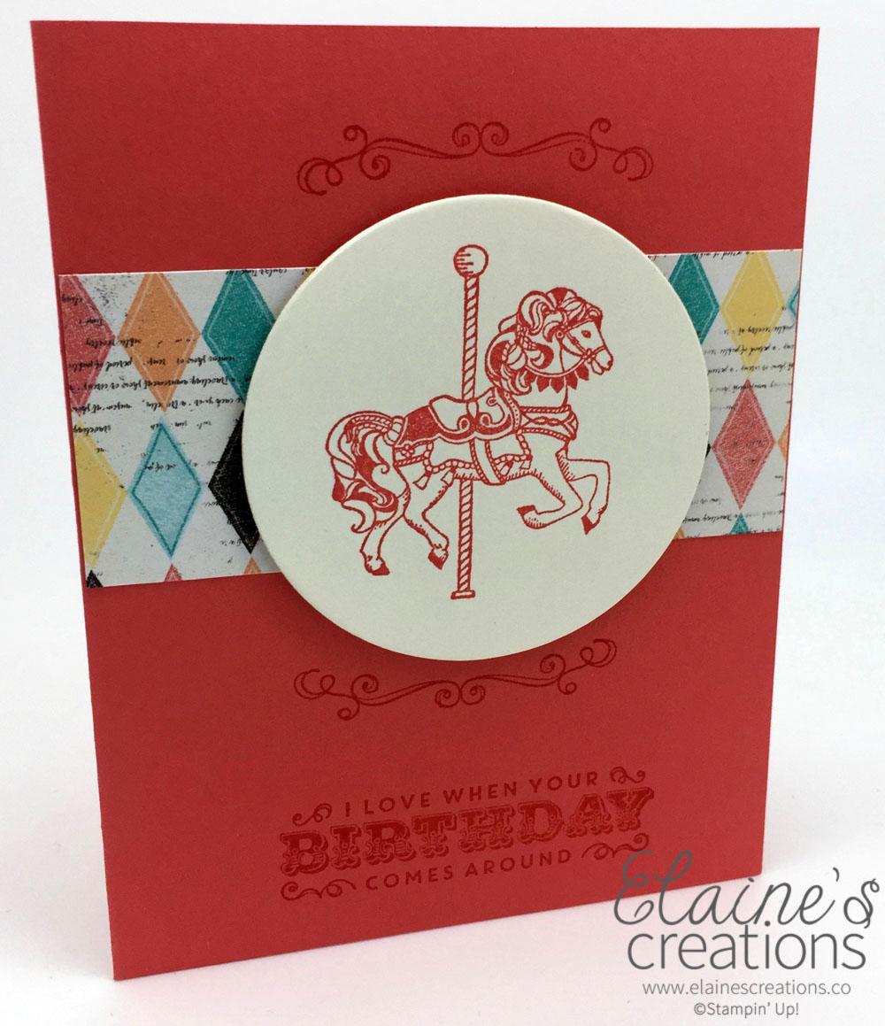 Elaines Creations Calypso Coral Carousel Birthday Card