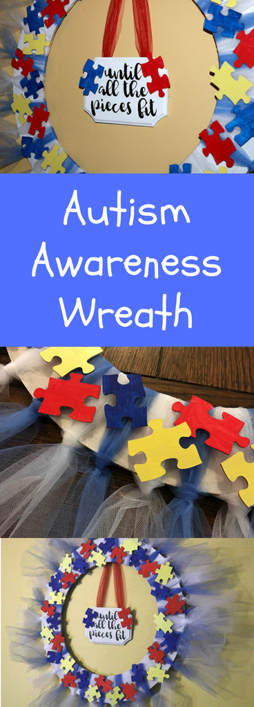 DIY tulle autism puzzle piece wreath.