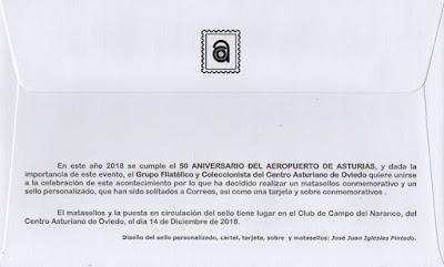 Reverso del sobre matasellado con el 50 aniversario del Aeropuerto de Asturias