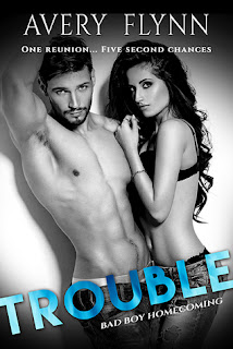 contemporary romance, romance novel covers, Trouble by Avery Flynn