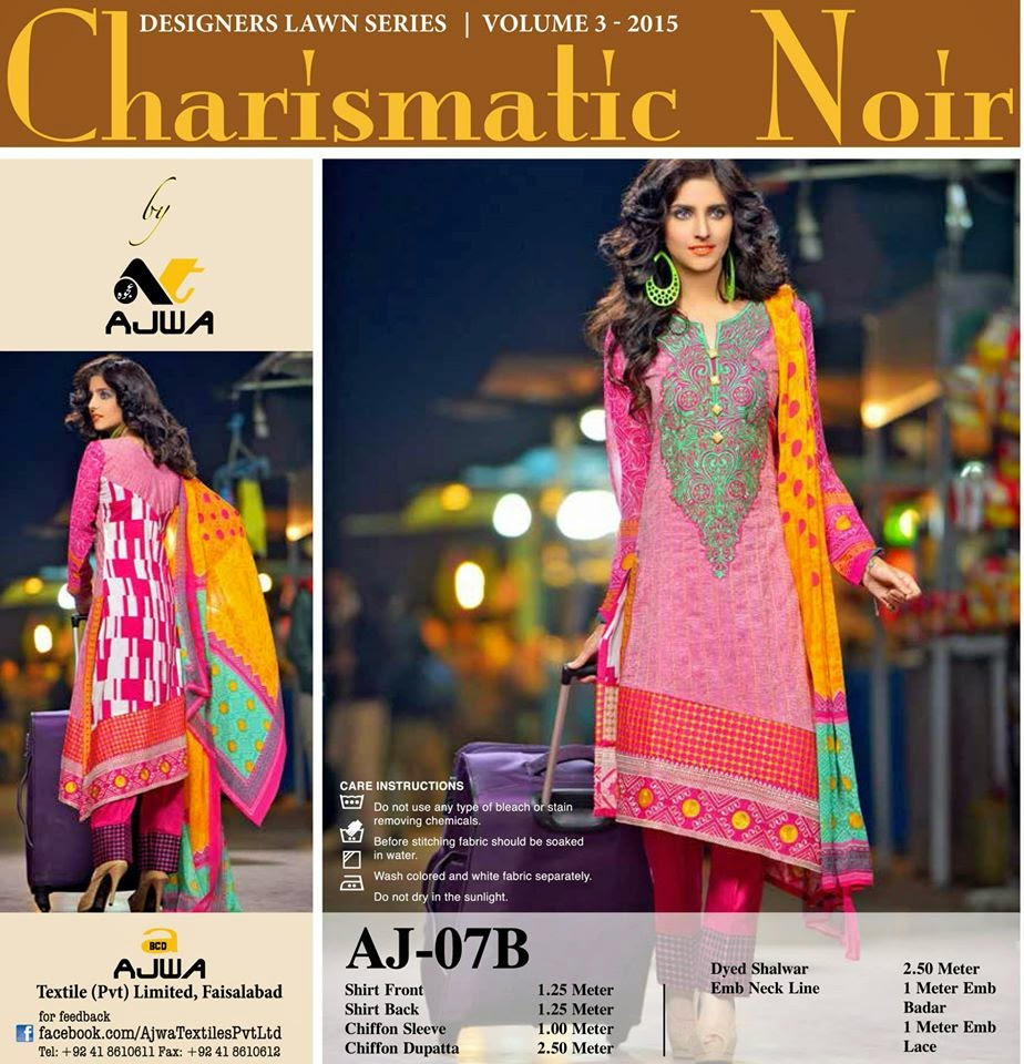 c3bd0ed1d3 Ajwa Textile Charismatic Noir Lawn Collection 2015-16 - Top Latest ...