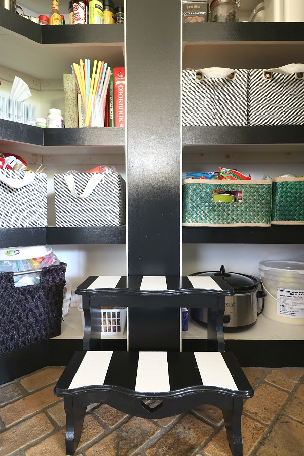 Striped step stool, kitchen pantry, kitchen organization, kitchen storage