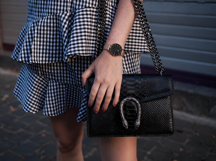 gingham ruffle skirt, gucci dionysus dupe