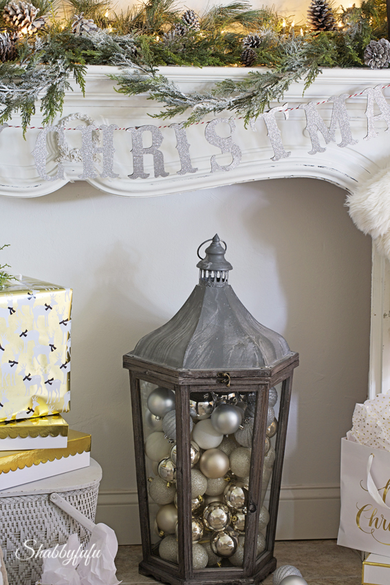 holiday mantel with lanterns
