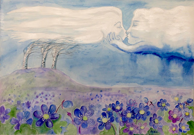 #AideLL #Aide #Leit #wind #cloud #kiss #blueflowers #art #illustration #watercolor