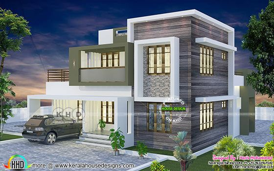 Right side view rendering of a modern home