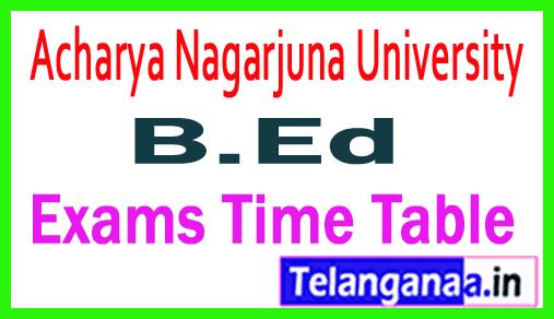 ANU B.Ed Acharya Nagarjuna University B.Ed Regular Exams Time Table