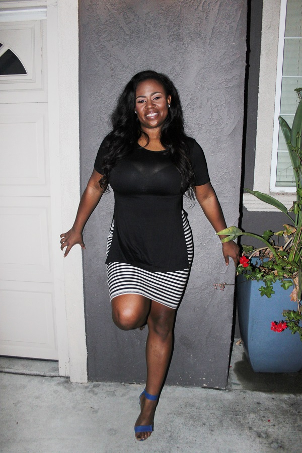 Nicki-minaj-open-side-black-top, navy-and-white-striped-pencil-skirt, blue-strappy-heels, best-plus-size-bloggers, body-positive, lifestyle-blog, best-black-bloggers
