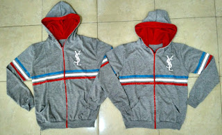 Jual Online Jacket Sport YSL Abu Couple Murah Jakarta Bahan Babytery Terbaru