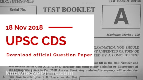 Cds Exam Question Paper Pdf