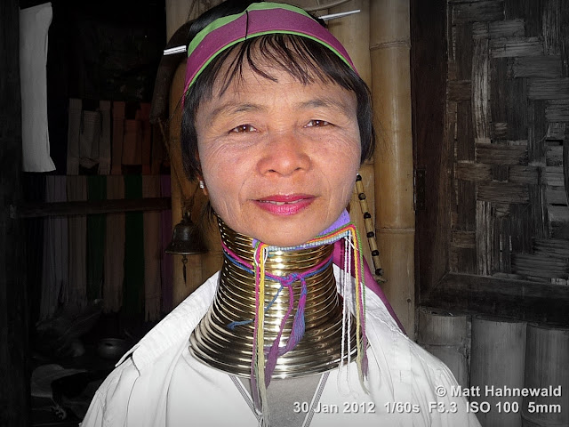 Burma, Myanmar, Inle Lake, Red-Karen woman, people, street portrait, headshot, posing Kayan woman, La Hwi, brass neck coils, giraffe woman, focal black and white