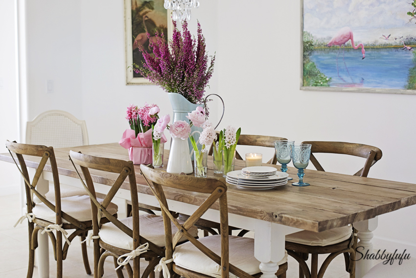 Great This French farmhouse style table scape is plete with dark wood chairs with white linen cushions