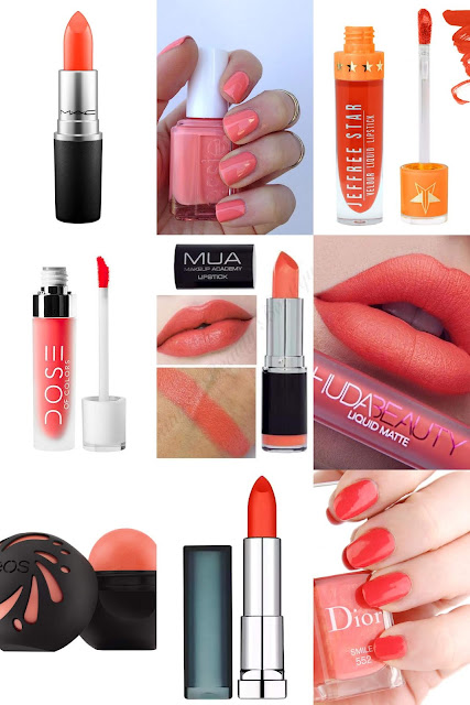 coral peach lipsticks nail polish