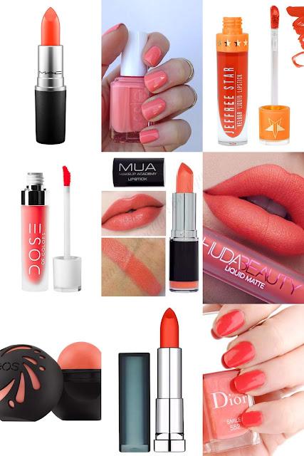 coral peach lipsticks nail polish
