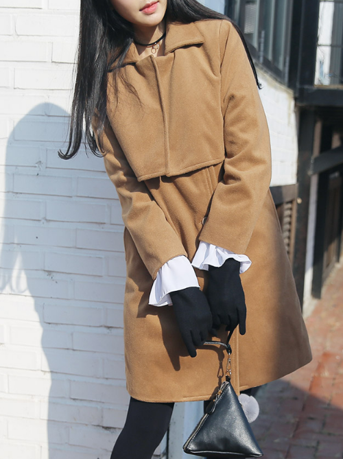Storm Flap-Accented Button Up Quilted Coat