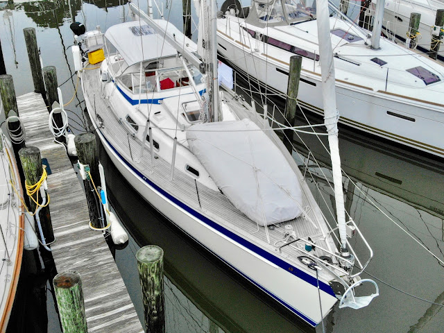 Borealis, Hallberg-Rassy 37, boat in slip, Herrington Harbor South