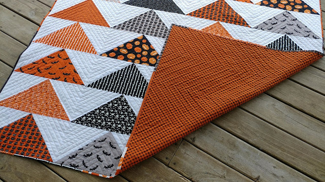 Modern Halloween flying geese quilt in Quilty magazine