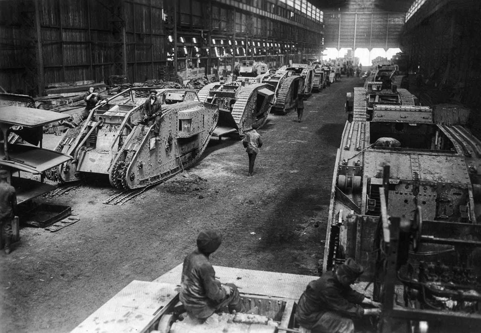 A WW1 factory for the repair of German tanks. 1916.