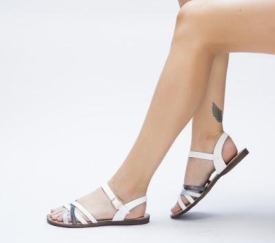 sandale dama albe fara toc foarte comode