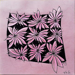 New zentangle pattern 4-Corner Corolla in wonky grid with black background