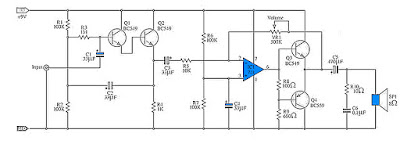 Low Output Power Amplifier Circuit Schematic