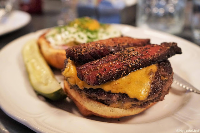 Double Cheeseburger with Egg and Bacon at Au Cheval in Chicago