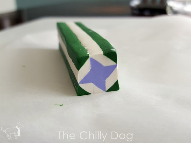 How to make a simple polymer clay cane inspired by the Friendship Star quilt block.