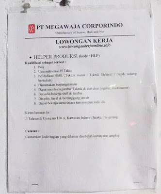 Lowongan PT Mega Waja Corporindo Tangerang