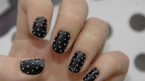 Black nail polish with Mini Pearl Tiny Beads - Nail Art Design