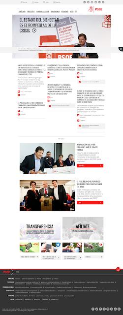 Portada de la web del PSOE