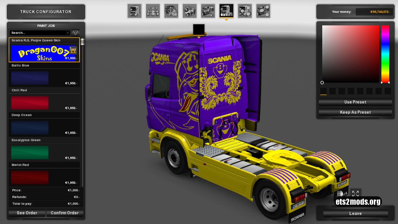 Purple Queen Skin for Scania RJL